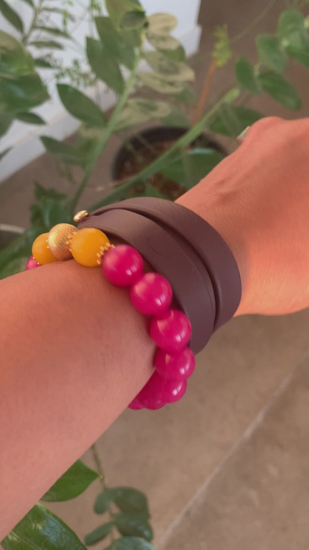 Burgundy Leather Strap bracelet