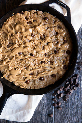 peanut butter skillet, cookie skillet, peanut butter, powdered peanut butter, vegan, dessert, recipe, recipes, pbandme, pb&me, chocolate chip cookie skillet, chocolate chip, cookie, skillet recipe
