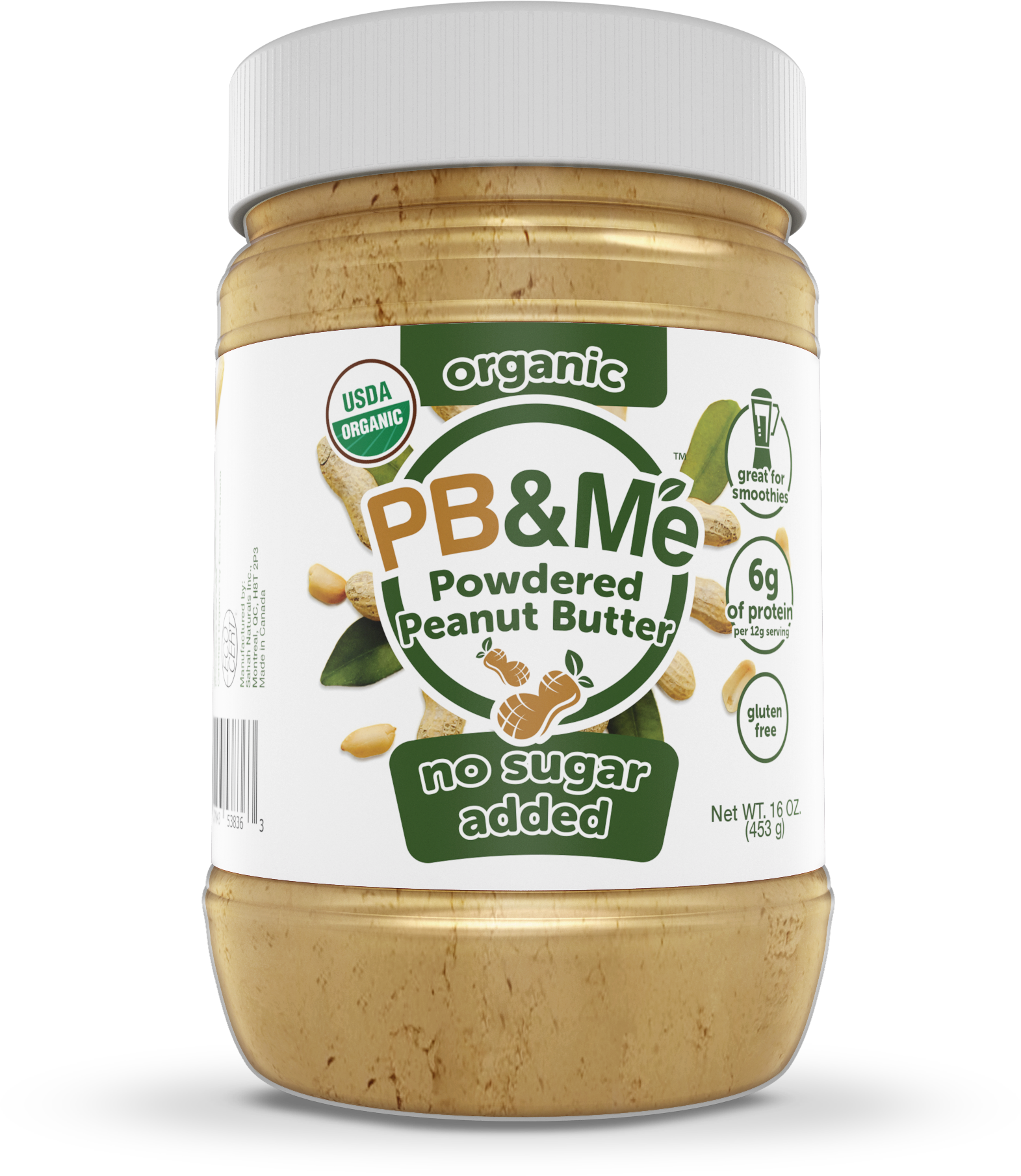 Organic Powdered Peanut Butter - No Sugar Added (1LB)