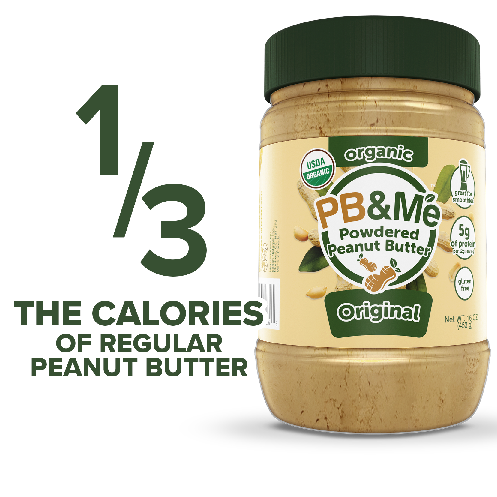Organic Powdered Peanut Butter - Original (1LB)