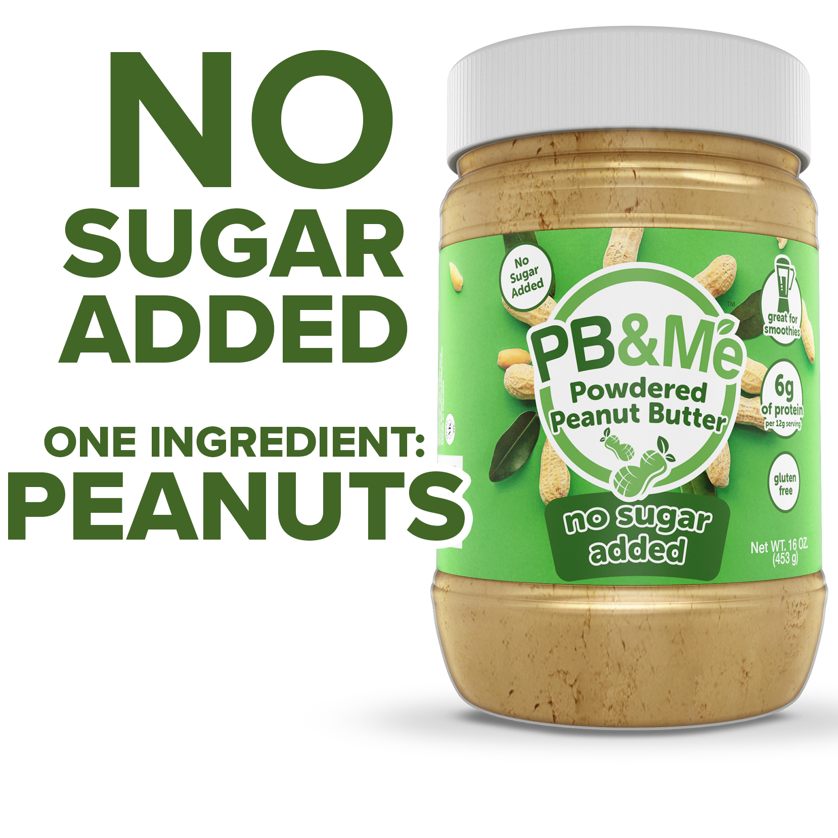 PB&Me - Powdered Peanut Butter - No Sugar Added (1LB)
