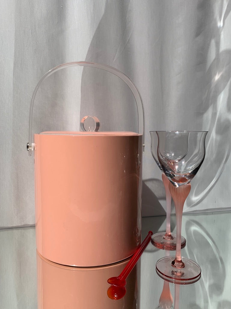 Vintage Pink Vinyl and Lucite Ice Bucket
