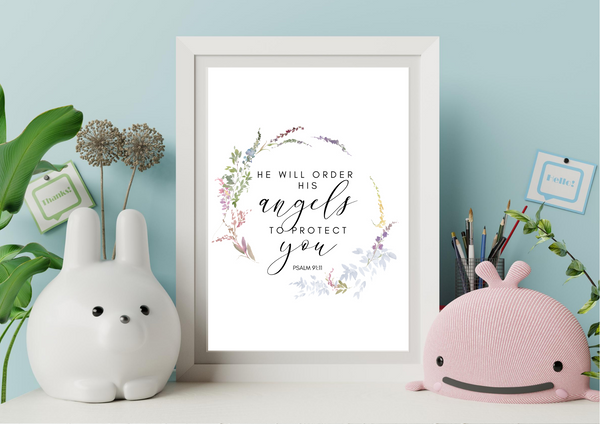 He Will Order His Angels to Protect You | Decor Print, Wall Art - Auxano Life