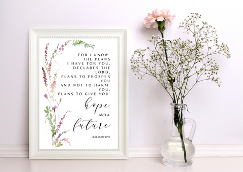 For I Know the Plans I Have for You - Jeremiah 29:11 |  Decor Print - Auxano Life