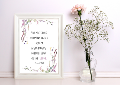 She Is Clothed With Strength - Proverbs 31:25 | Decor Print - Auxano Life