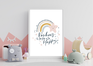 Rainbows Make Me Happy | Kids Decor Print - Auxano Life