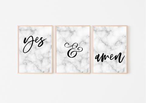 Yes & Amen | Decor Print Trio Set, Gallery Wall Art - Auxano Life