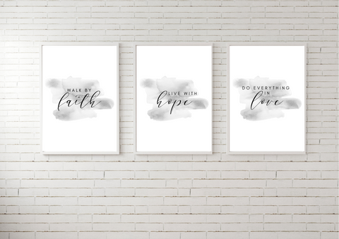 Faith, Hope, Love Trio Set | Decor Print , Gallery Wall Art - Auxano Life