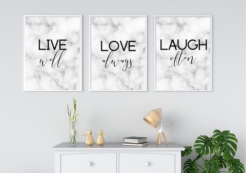 Live Love Laugh | Decor Print Trio Set, Gallery Wall Art - Auxano Life