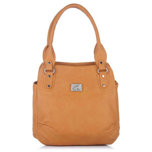 Tan Self Pattern Handbag - vezzmart
