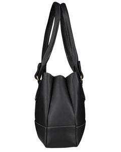 Black Self Pattern Handbag - vezzmart