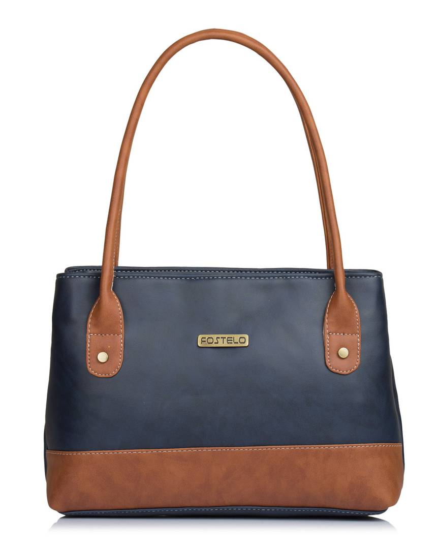 Blue Self Pattern Handbag - vezzmart