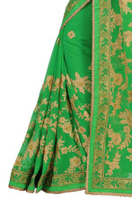 Load image into Gallery viewer, Glamorous Green Embroidered Wedding Wear Women's Saree - vezzmart