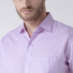 Purple Cotton Half Sleeve Solid Formal Shirt - vezzmart