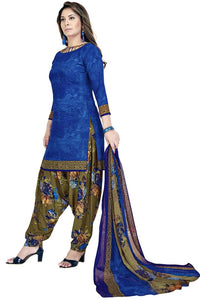 Trendy Blue Printed Dress Material with Dupatta - vezzmart
