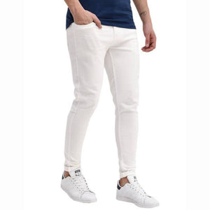 White Cotton Spandex Trendy Slim Fit Mid-Rise Jeans - vezzmart