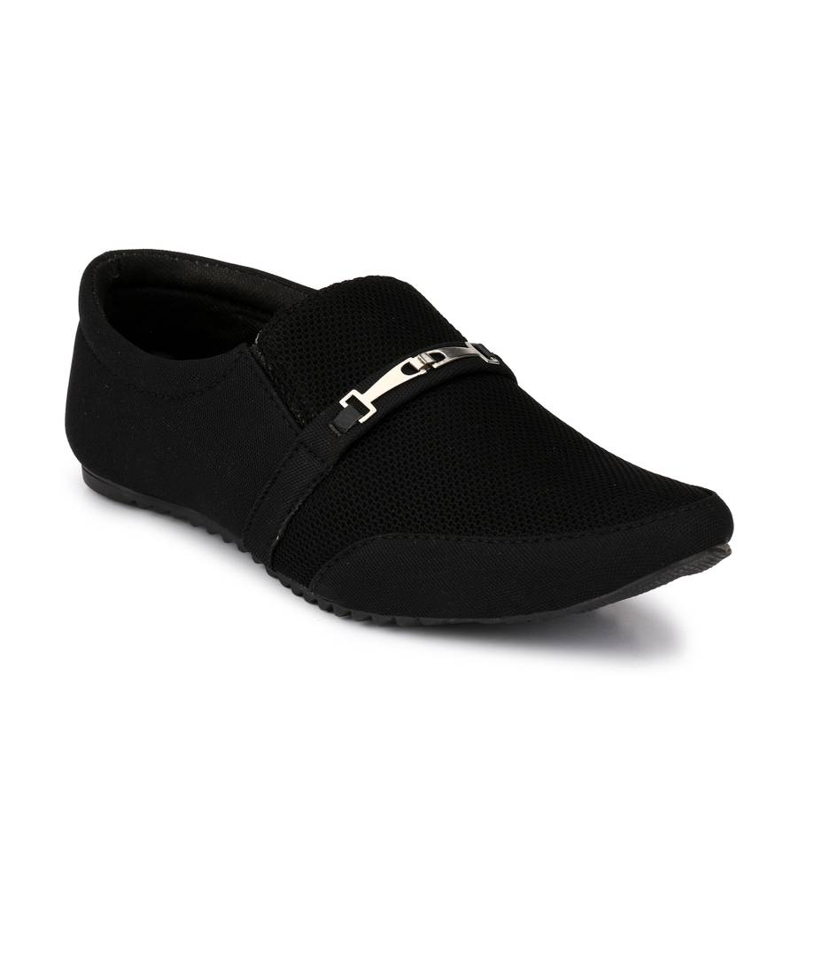 Black Slip-on Canvas Casual Party Wear Shoes - vezzmart