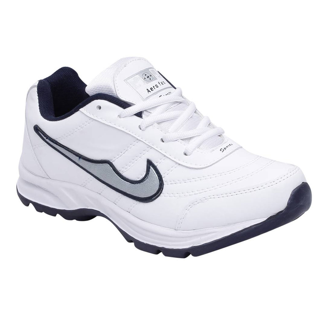 Men Sport Synthetic White Running Shoes - vezzmart