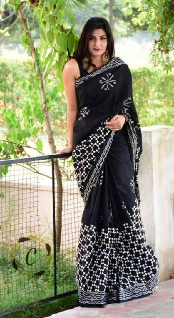 Printed Cotton saree with Blouse - vezzmart