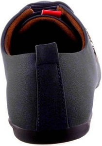 Black Synthetic Leather Casual Shoe - vezzmart