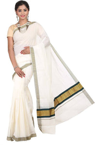 Kasavu Cotton Saree with Blouse piece - vezzmart