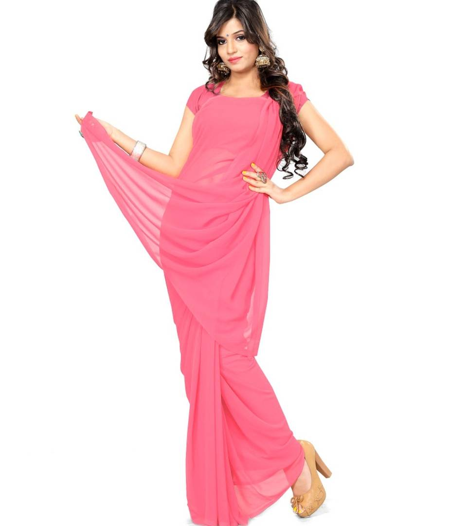 Pink Solid Georgette Saree with Blouse piece - vezzmart