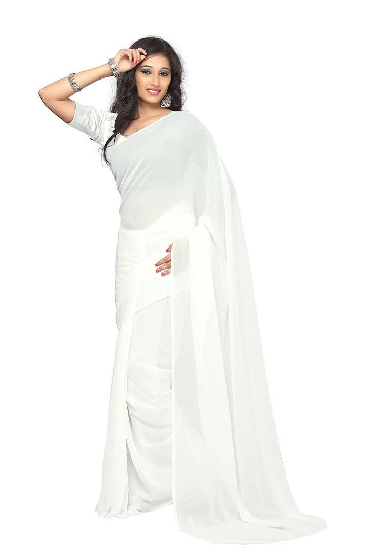 Trendy Solid Georgette Saree with Blouse piece - vezzmart