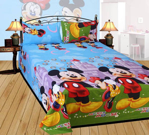 Multicoloured Polycotton Graphic Printed King Size Bedsheet With 2 Pillowcovers - vezzmart