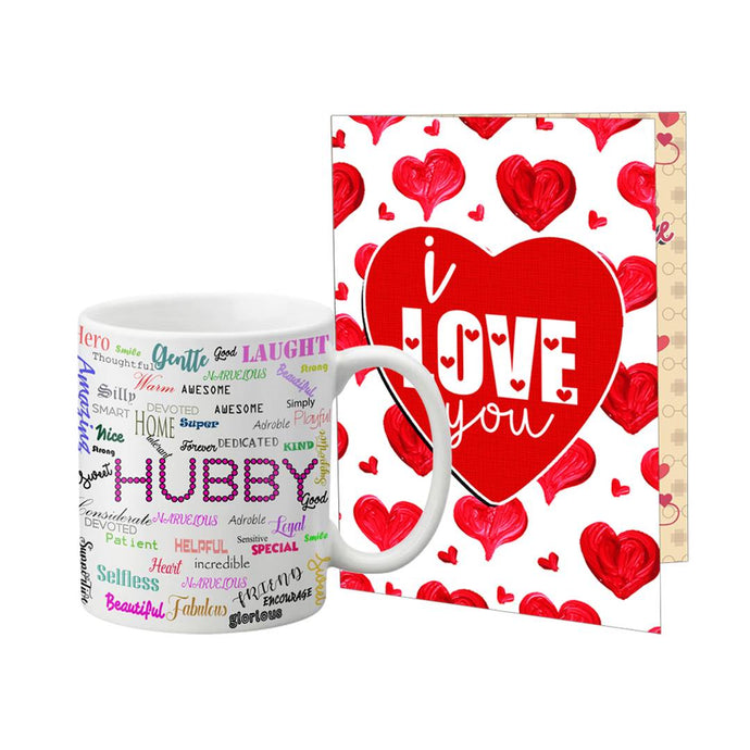 Valentine Special Gift Set Coffee Mug Printed A4 Greeting Card - vezzmart