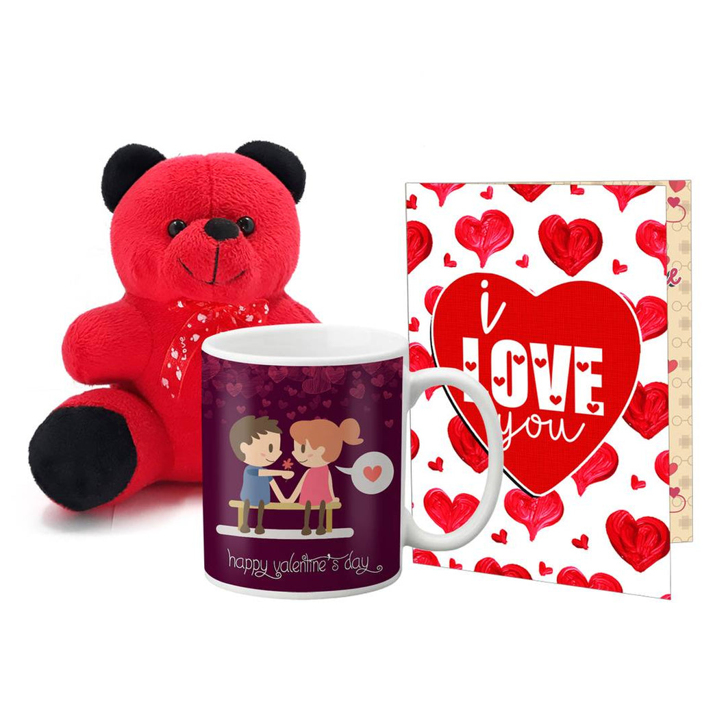 Valentines Gift Teddy Mug and Card - vezzmart