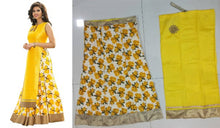 Load image into Gallery viewer, Yellow Floral Printed Art Silk Lehenga Choli Semi Stitched - vezzmart