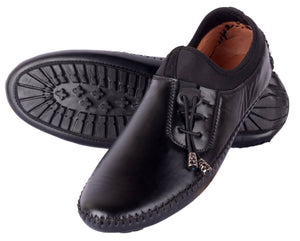 Black Solid Synthetic leather Casual Shoes - vezzmart