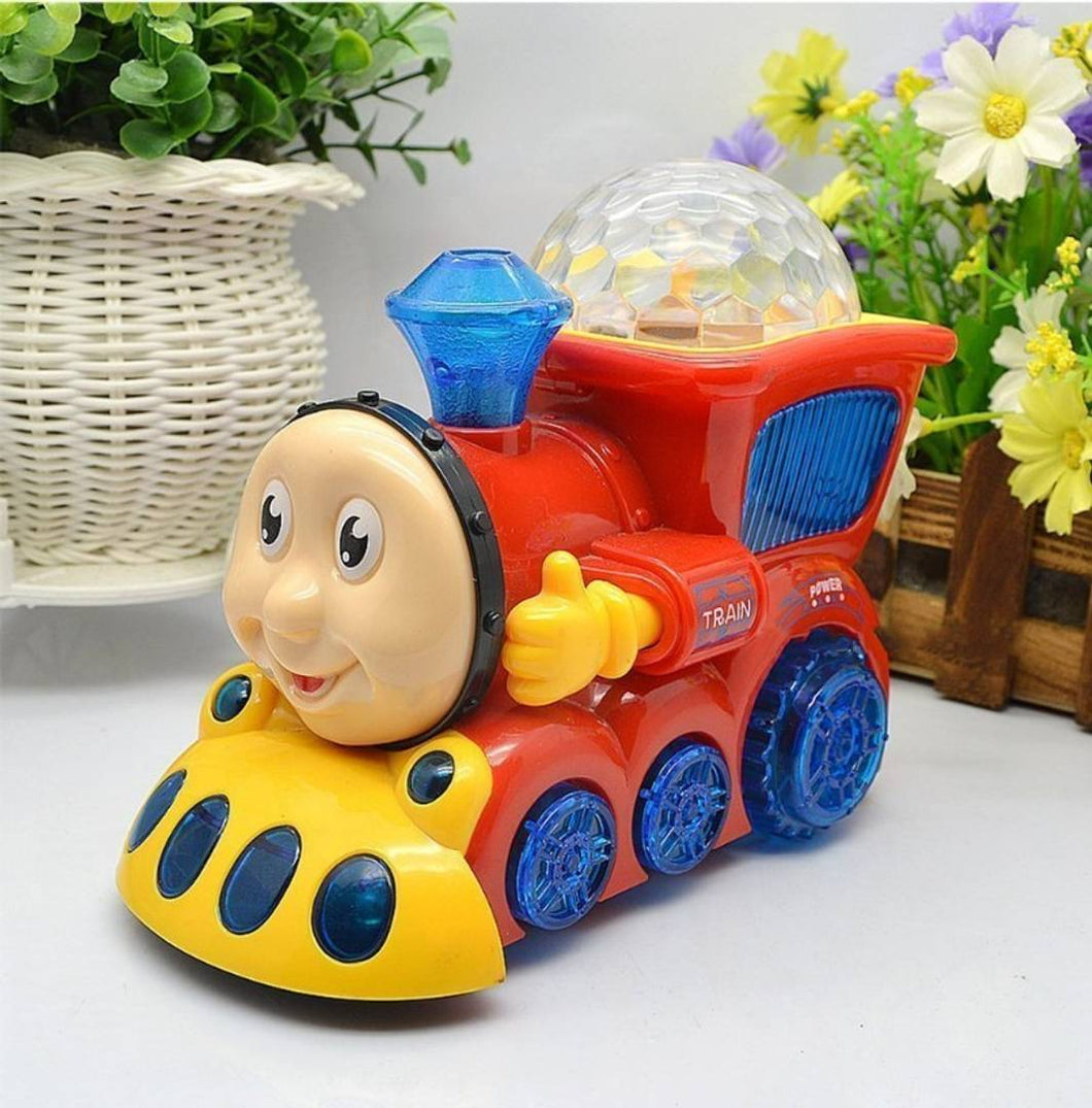 Bump and Go Musical Engine Toy Train with 4D Light and Sound for Kids - vezzmart