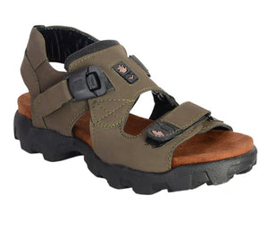 Men's Olive Solid Synthetic Sandal - vezzmart