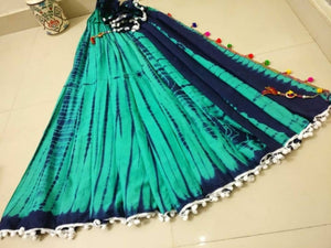 Shibori Cotton Saree with Pompom - vezzmart
