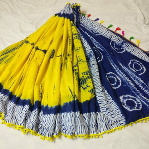 Trendy Shibori Cotton Pom Pom Saree with Blouse Piece - vezzmart