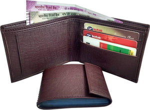Brown Solid Artificial Leather Two Fold Wallet - vezzmart