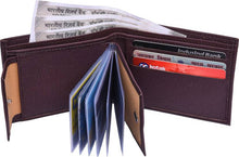 Load image into Gallery viewer, Brown Solid Artificial Leather Two Fold Wallet - vezzmart