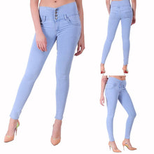 Load image into Gallery viewer, Women Blue Solid High Waist Denim Jeans - vezzmart