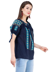 Women's Rayon Navy Blue Embroidered Top - vezzmart