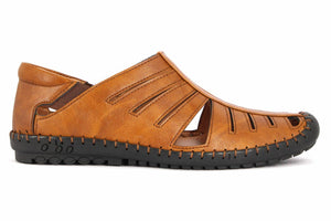 Casual Party Tan Synthetic Roman Sandals for Men - vezzmart