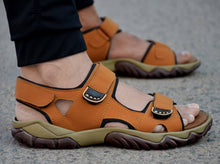 Load image into Gallery viewer, Tan Synthetic Self Design Comfort Sandals for Men's - vezzmart