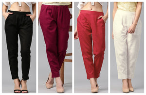 Pack Of 4 Cotton Flex Casual Solid Trouser Pants - vezzmart
