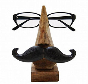 Wooden Spectacles Nose Shaped Holder With Moustache - vezzmart