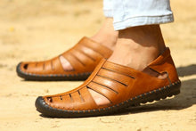 Load image into Gallery viewer, Casual Party Tan Synthetic Roman Sandals for Men - vezzmart