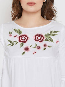 White Embroidered Viscose Rayon Top - vezzmart