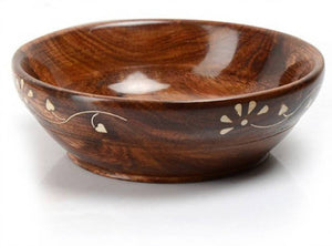 Wooden Handcarved Brass Plated Snacks Bowls - Set Of 4 Bowls and 4 Spoons - vezzmart