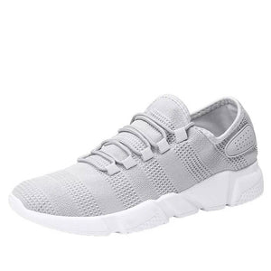 Grey Solid Mesh Sports Shoes for Men's - vezzmart