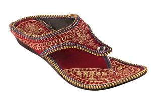 Elegant Red Embellished Ethnic Flats For Women - vezzmart