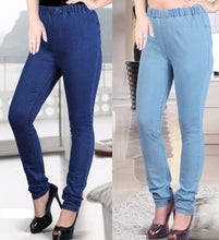 Load image into Gallery viewer, Fashionable Denim Solid Jeggings Pack Of 2 - vezzmart